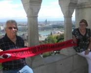Foto mit Vereinsschal in Budapest